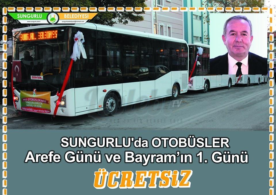 Arefe ve Bayramın 1. günü Halk Otobüsleri Ücretsiz